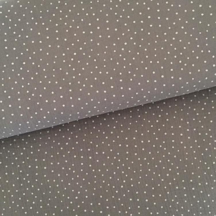 BAUMWOLL MUSSELIN LITTLE DOTS - GRAU