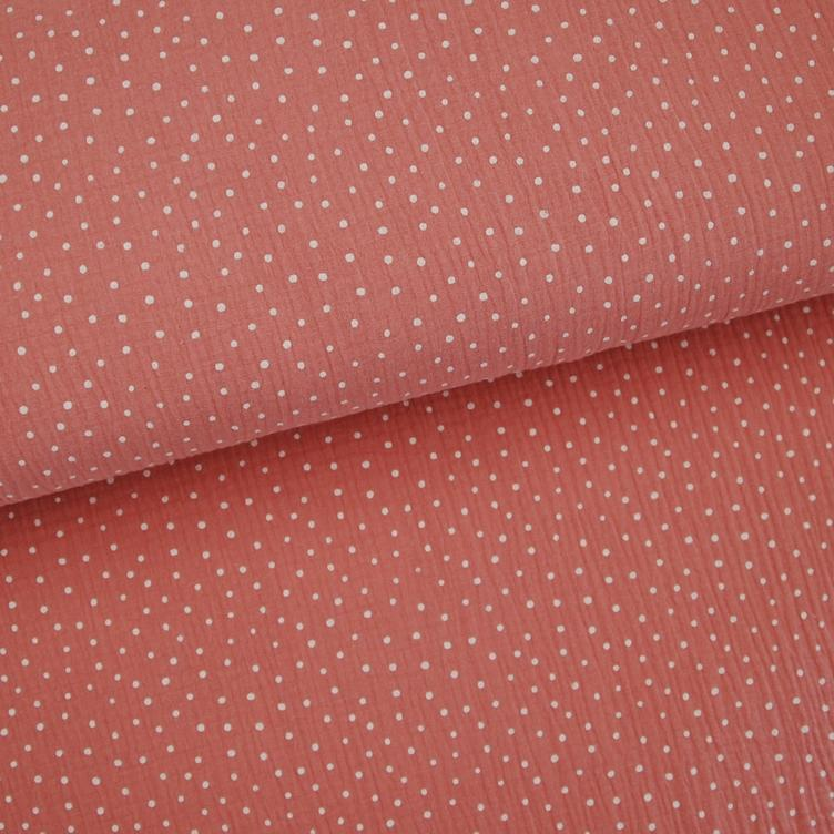 BAUMWOLL MUSSELIN LITTLE DOTS - ROSA