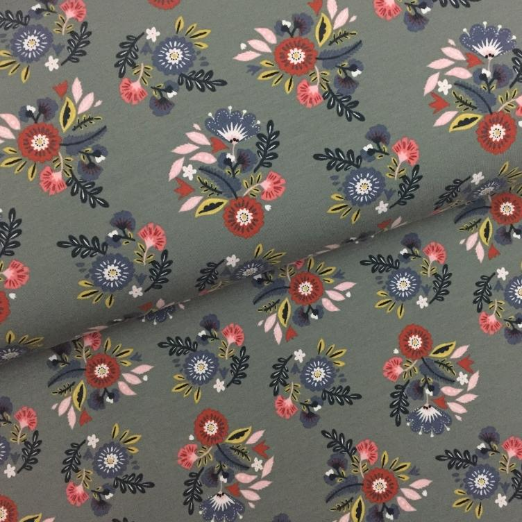 FRENCH TERRY GERAUT FLOWERS - KHAKI / MINT