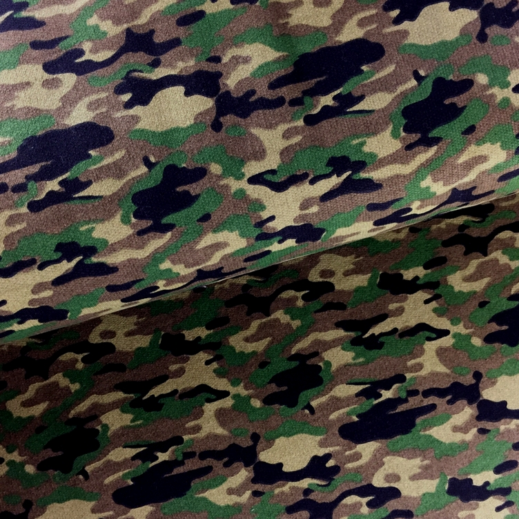 FRENCH TERRY GERAUT CAMOUFLAGE - GRÜN