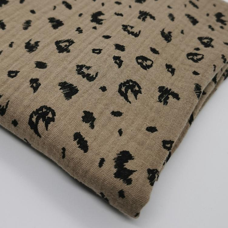 BAUMWOLLE MUSSELIN ANIMAL SKIN - TAUPE