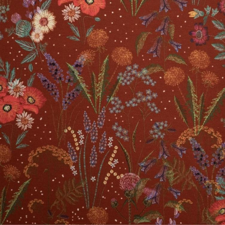 BAUMWOLLJERSEY EMBROIDERED FIELD FLOWER - RUST