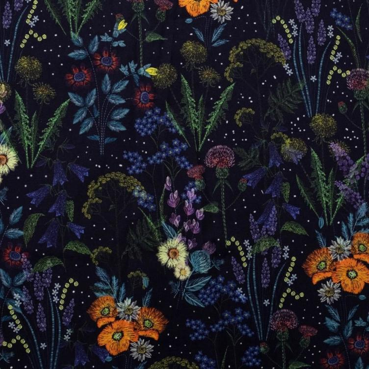 BAUMWOLLJERSEY EMBROIDERY FIELD FLOWER - NAVY BLAU