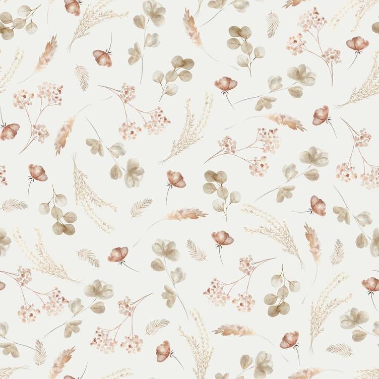 BAUMWOLLJERSEY FAMILY FABRICS ROMANTIC DRIED FLOWER JERSEY - BEIGE