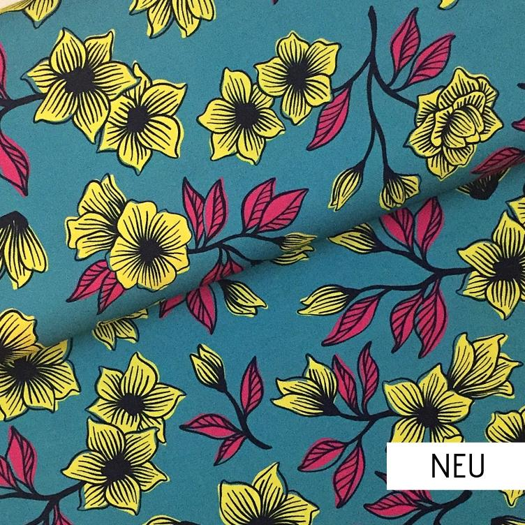 CANVAS FLOWER HAMBURGER LIEBE - AQUA