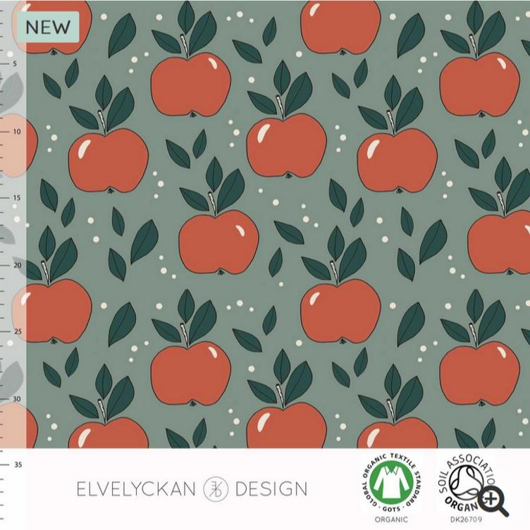 ELVELYCKAN DESIGN BIO JERSEY APPLES - GREEN