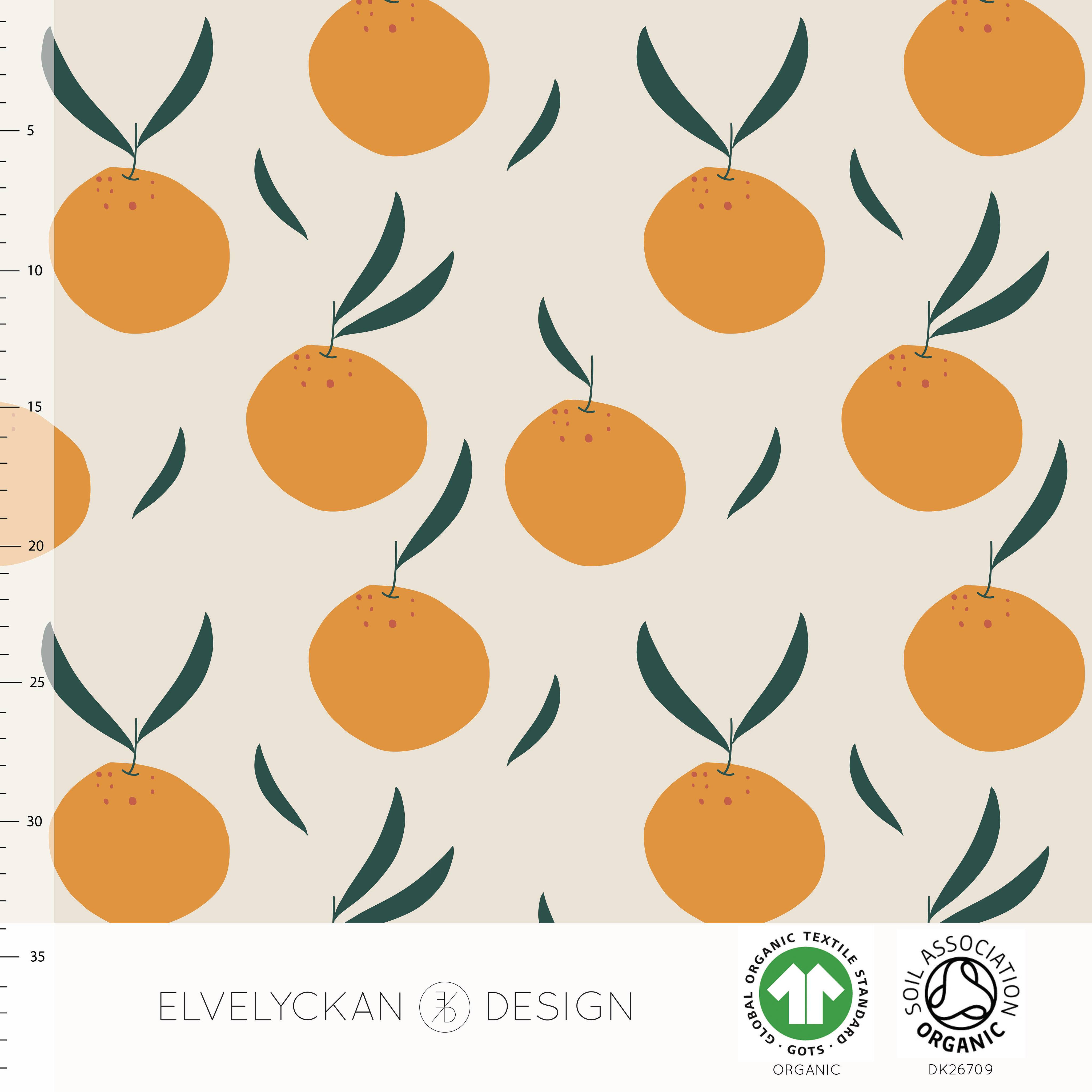 ELVELYCKAN DESIGN BIO JERSEY ORANGES - CREME / ORANGE