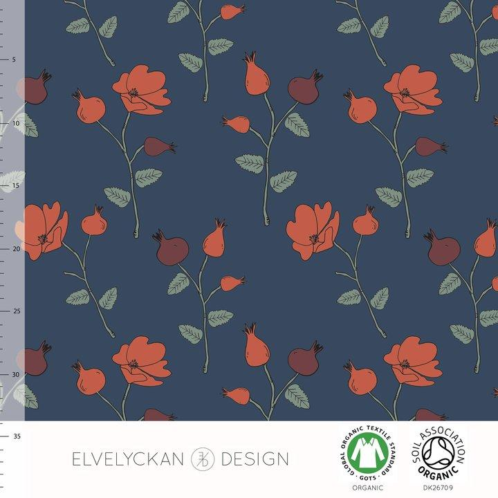 ELVELYCKAN DESIGN BIO JERSEY ROSE HIP - DARK BLUE