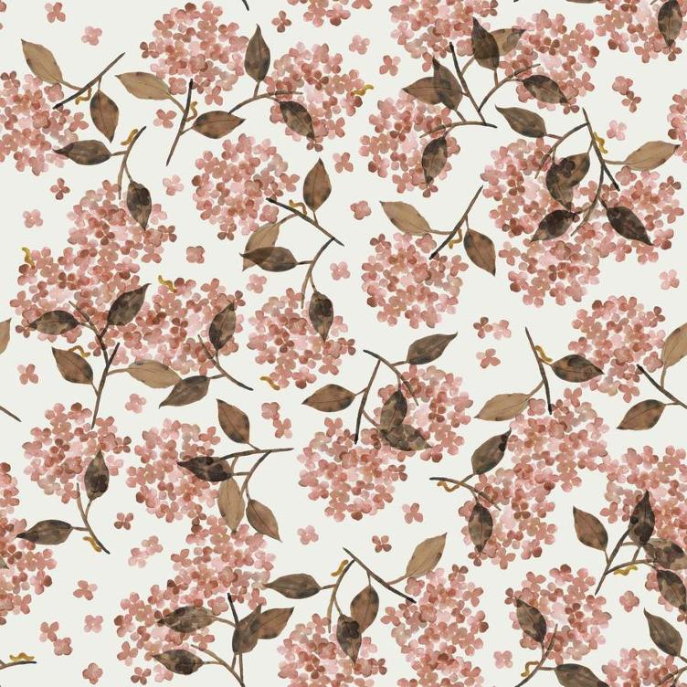 FRENCH TERRY FAMILY FABRICS DESIGN - HORTENSIA ROSY