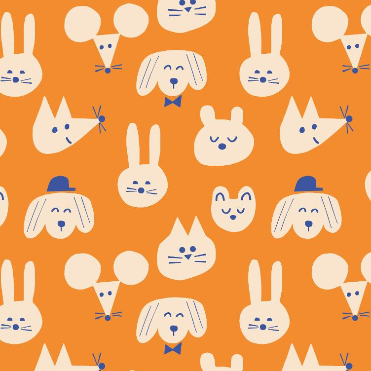 FRENCH TERRY SOMMERSWEAT FABRICS & FRIENDS FUNNY FRIENDS ORANGE