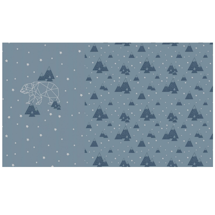 PANEL FRENCH TERRY BEAR FOIL - BLAU - 0