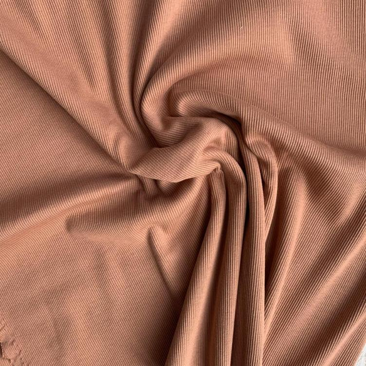 PECAN BROWN SOLID RIB JERSEY FAMILY FABRICS