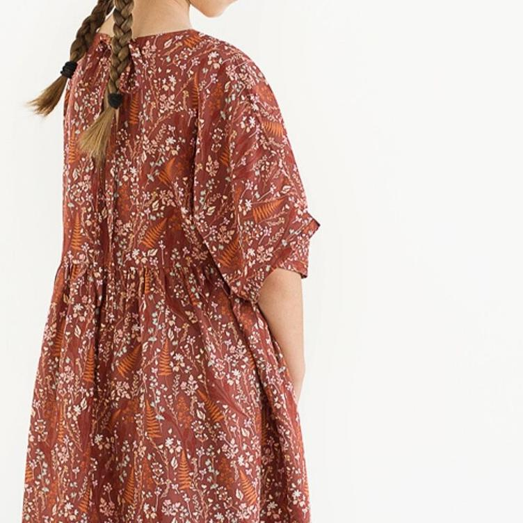 SEE YOU AT SIX VISKOSE RAYON FERNS & FLOWERS - BROWN