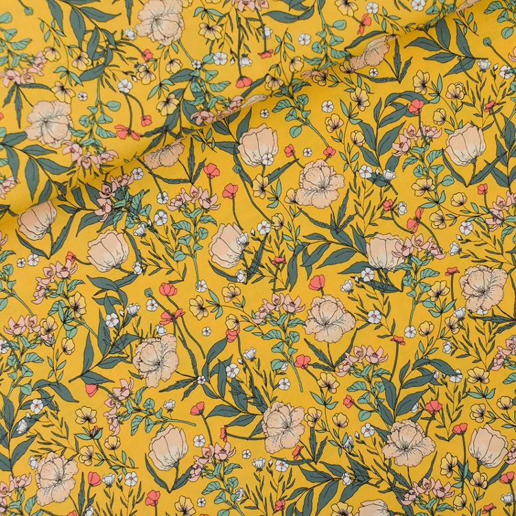 VISKOSE RAYON SUMMER FLOWERS - YOLK YELLOW