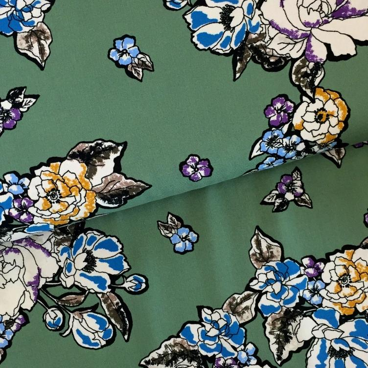 VISKOSE TWILL BEAUTIFUL FLOWER - MINT